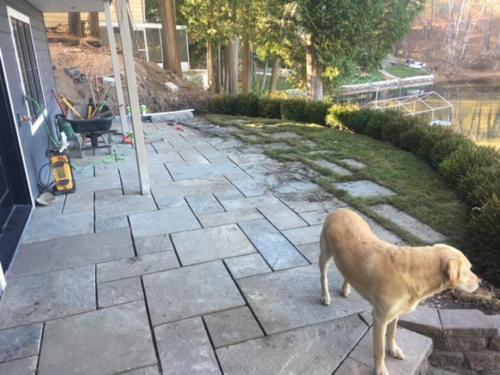 bluestone patio under construction